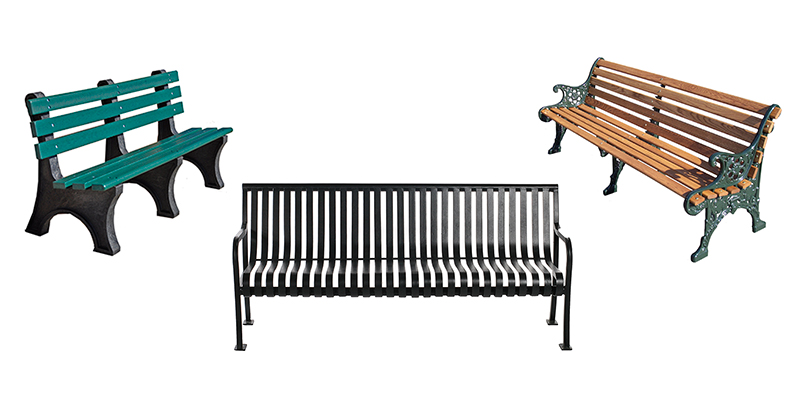Metal benches, Wood Benches, Recycled Plastic Benches.