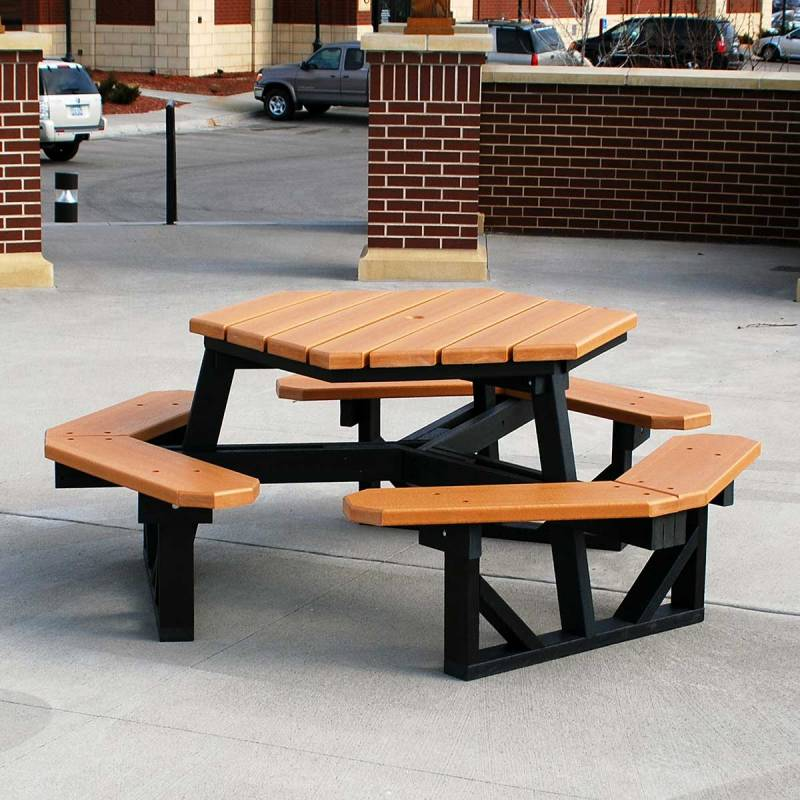 Hex Recycled Plastic Picnic Table Portable Quick Ship
