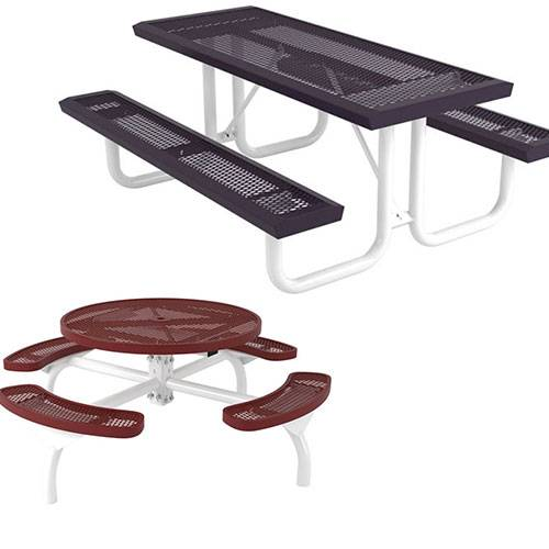 picnic tables coated
