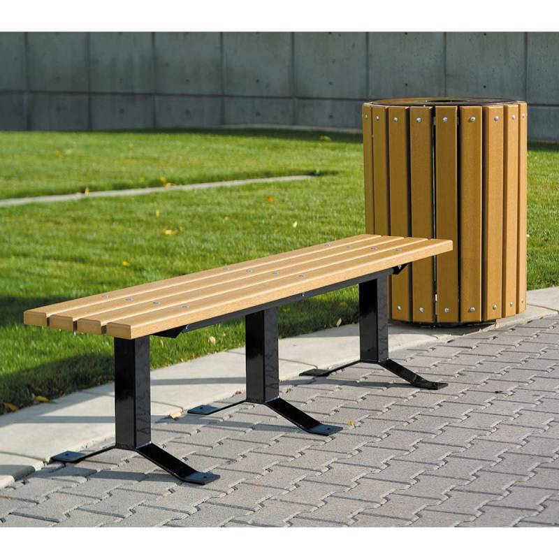 Bollard style backless wood bench surface and