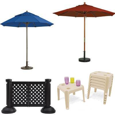 Grosfillex Patio Furniture - Occasional Tables & Umbrellas