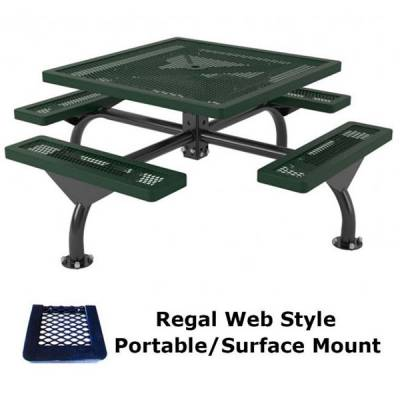 "46"" Square Regal Web Picnic Table  - Portable/Surface and Inground Mount"