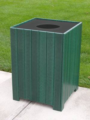 32 and 55 Gallon Square Recycled Plastic Trash Receptacle - Quick Ship