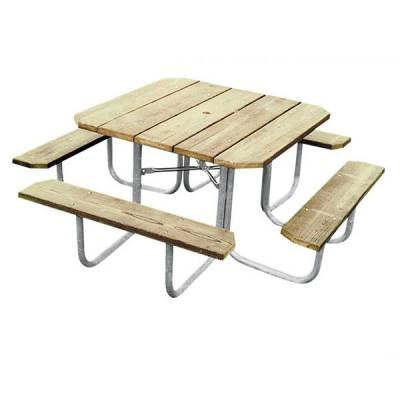 "48"" Square Wood Picnic Table - Portable"