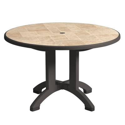 "48"" Round Aquaba Resin Table - Four Styles Available"