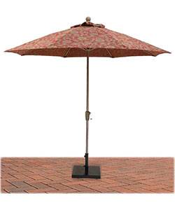 9 Ft. Commercial Aluminum Market Umbrella, Fiberglass Ribs - Push or Crank Up Style without Tilt