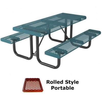 6' Rolled Picnic Table - Portable, Surface and Inground Mount