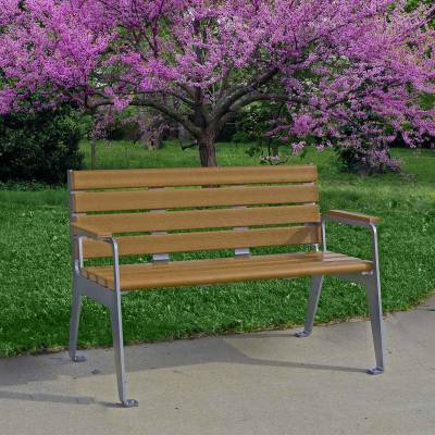 4' and 6' Plaza Recycled Plastic Bench - Portable/Surface Mount - Quick Ship