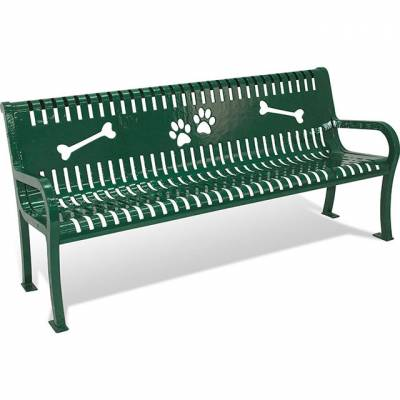 6' Lexington Dog Park Bench, with Back – Portable.