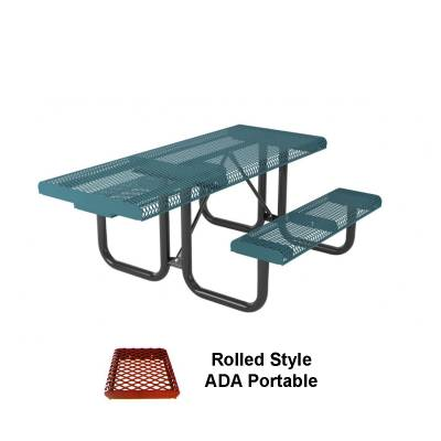 6' and 8' Rolled Picnic Table, ADA - Portable, Surface and Inground Mount
