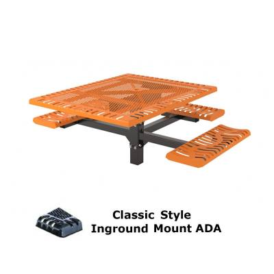 "46"" x 57"" Classic Pedestal Picnic Table, ADA - Inground and Surface Mount"
