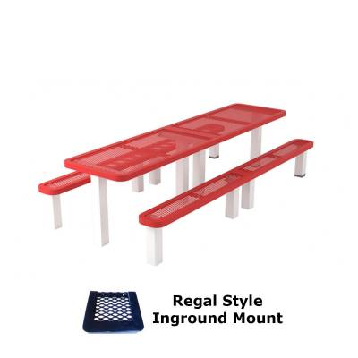 10' Regal Picnic Table with (2) Unattached Seats - Surface and Inground Mount