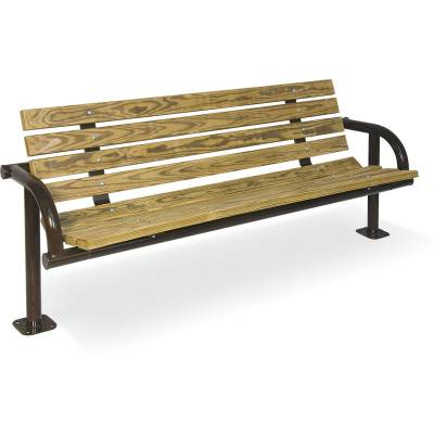 6' Contour Park Wood Bench, Single Post - Surface and Inground Mount