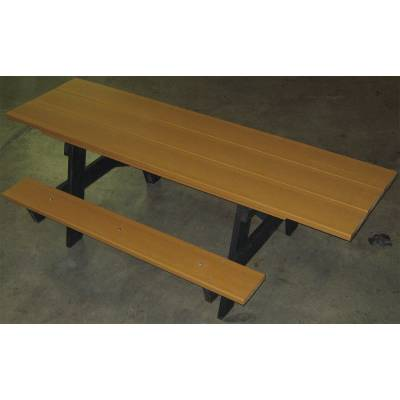 7 1/2' Recycled Plastic A Frame Picnic Table with (2) Attached 6' Seats - ADA - Portable