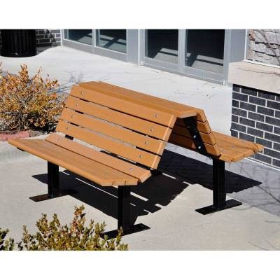 4', 6' and 8' Douglas Recycled Plastic Double Bench - Portable/Surface Mount - Quick Ship