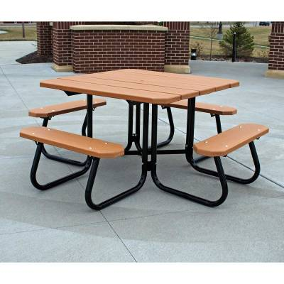 """48"""" Square Recycled Plastic Table with (3) Attached Seats - ADA - Portable - Quick Ship"""