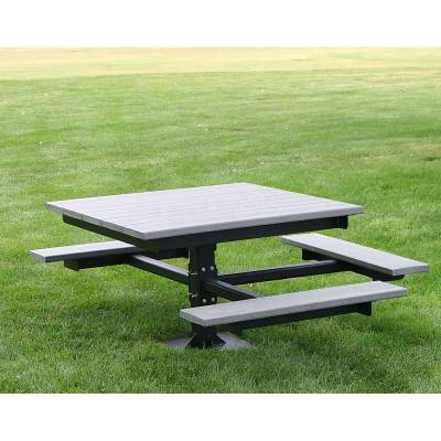 """48"""" Square Recycled Plastic Table with (3) Attached Seats, ADA - Surface Mount"""
