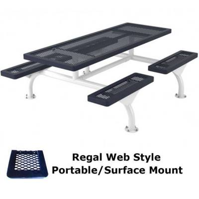 8' Regal Web Picnic Table - Portable/Surface and Inground Mount