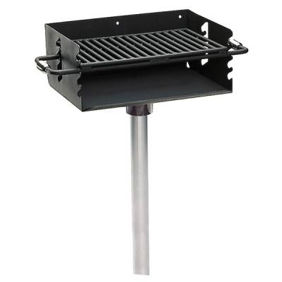 Rotating Grill, 280 Sq. Inch, Flip Back Adjustable Grates - Inground Mount