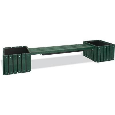 Recycled Plastic Bench with 2 Planters - Surface Mount