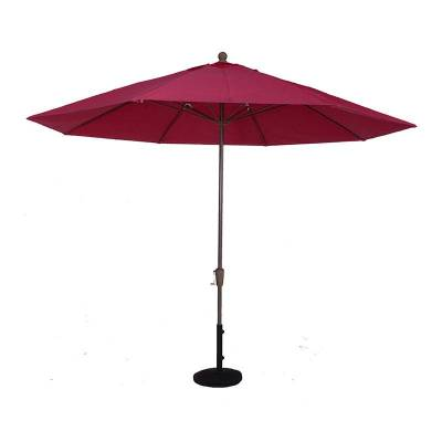 11 Ft. Commercial Aluminum Market Umbrella, Fiberglass Ribs - Crank Up Style with Auto Tilt