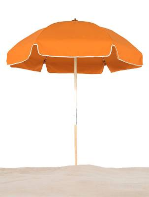 6 1/2 Ft. Wood Beach Umbrella, Steel Ribs