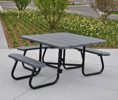 "48"" Square Recycled Plastic Table with (3) Attached Seats - ADA - Portable"