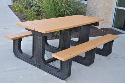 6' and 8' Recycled Plastic Park Place Picnic Table, Portable - Quick Ship