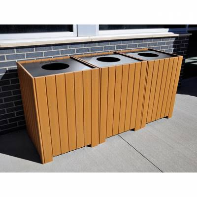 Trash Disposal - Recycling Receptacles - Square Recycling Center – 32 Gallon Recycled Plastic Trash Recycling Containers