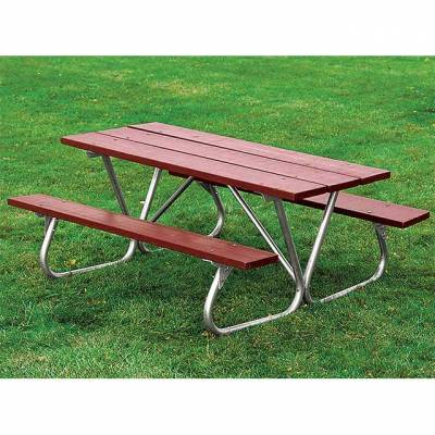 8' Heavy-Duty Bolt-Thru Wood Picnic Table - Portable - Image 2