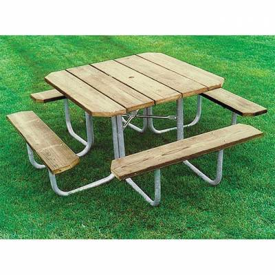 "Picnic Tables - Natural Wood - 48"" Square Wood Picnic Table - Portable"
