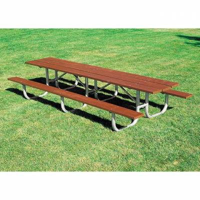 Picnic Tables - Natural Wood - 10' and 12' Heavy-Duty Shelter Wood Picnic Table – Portable