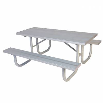 Picnic Tables - Natural Wood - 6' and 8' Heavy-Duty Aluminum Picnic Table – Portable