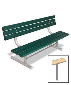6' Park Wood Bench - Portable, Surface and Inground Mount - Image 2