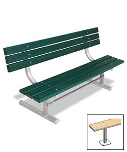 6' Park Wood Bench - Portable, Surface and Inground Mount - Image 3
