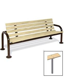 6' Contour Park Wood Bench, Double Post - Portable, Surface and Inground Mount - Image 2