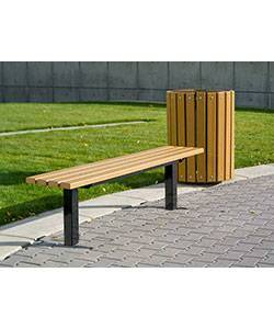 6' Bollard Style Backless Wood Bench - Surface and Inground Mount - Image 2
