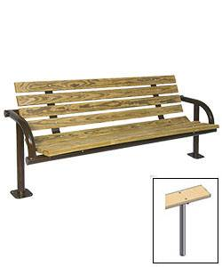 6' Contour Park Wood Bench, Single Post - Surface and Inground Mount - Image 2