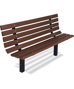 6' Traditional Park Wood Bench - Surface and Inground Mount - Image 2