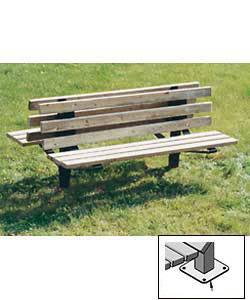 6' Pedestal Style Double Wood Bench - Surface and Inground Mount - Image 2