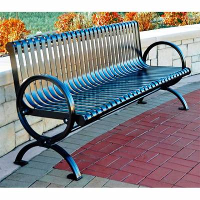 Park Benches - Coated Metal - 6' Wellington Bench - Portable/Surface Mount - Quick Ship
