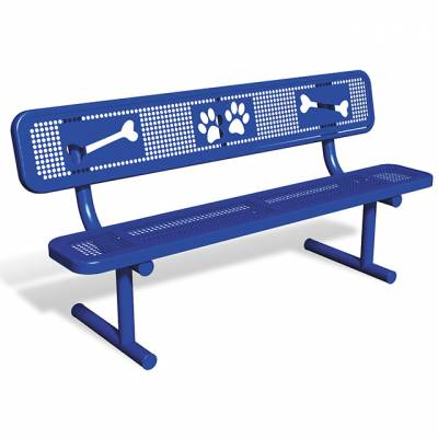 Pet Waste - 6' Dog Park Bench, With Back, Rounded Corners