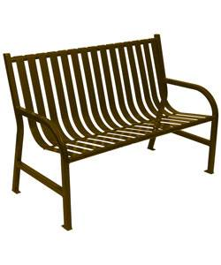 Park Benches - Coated Metal - 4', 5' and 6' Oakley Slatted Bench- Portable/Surface Mount
