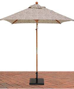 Umbrellas & Bases - 6 1/2 Ft. Square Commercial Wood Market Umbrella - Double Pulley Lift Style
