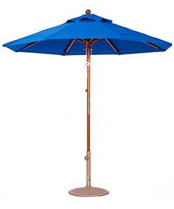Umbrellas & Bases - 7 1/2 Ft. Commercial Wood Market Octagon Umbrella - Double Pulley Lift Style