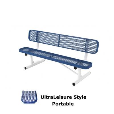 Park Benches - Thermoplastic Coated - 6' and 8' UltraLeisure Bench - Portable, Surface and Inground Mount