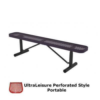 Park Benches - Thermoplastic Coated - 6' and 8' UltraLeisure Perforated Backless Bench - Portable, Surface and Inground Mount