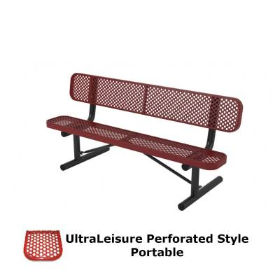 Park Benches - Thermoplastic Coated - 6' and 8' UltraLeisure Perforated Bench - Portable, Surface and Inground Mount