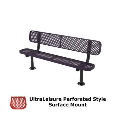 6' and 8' UltraLeisure Perforated Bench - Portable, Surface and Inground Mount - Image 3