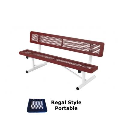 Park Benches - Thermoplastic Coated - 6' and 8' Regal Bench - Portable, Surface and Inground Mount